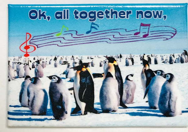 """All Together Now"" Penguins On Ice Magnet (3"" x 2"")"