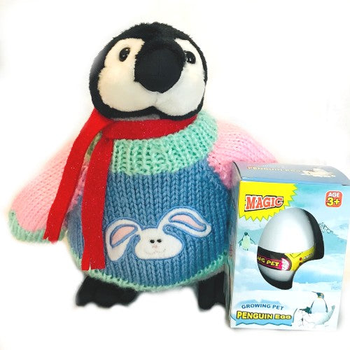"Easter Bunny Penguin Plush with Penguin Magic Hatching Egg Set (9"" Tall)"