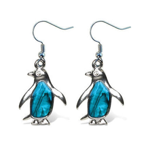 Penguin Aqua Tummy Earrings