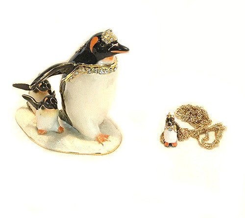 Penguin Family Bejeweled Figurine Box Pendant Gift