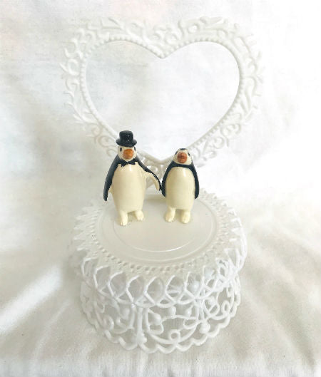 "Penguin Wedding Cake Topper (6"" tall)"