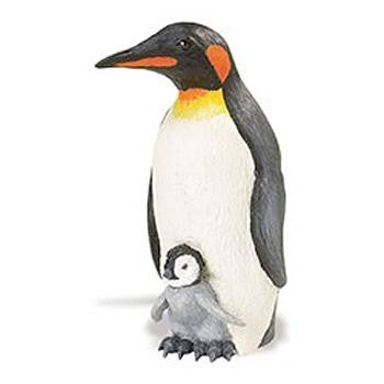 "Penguin and Chick Figurine by Safari (5"" tall)"