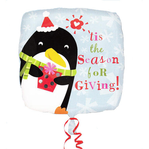 "'Tis the Season Penguin Christmas Foil Balloon (18"" Tall)"