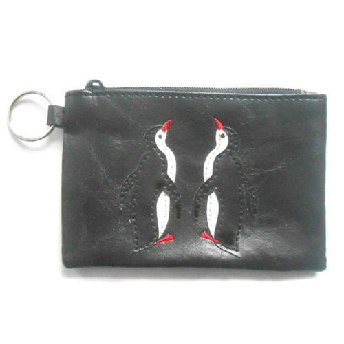 Penguin Couple Black Vegan Wallet