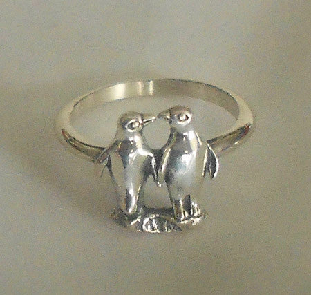 Penguin Couple Ring Sterling Silver by Kabana (Sizes 5 - 10)