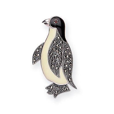 "Penguin Marcasite and Enamel Brooch (1 1/2"" Tall)"