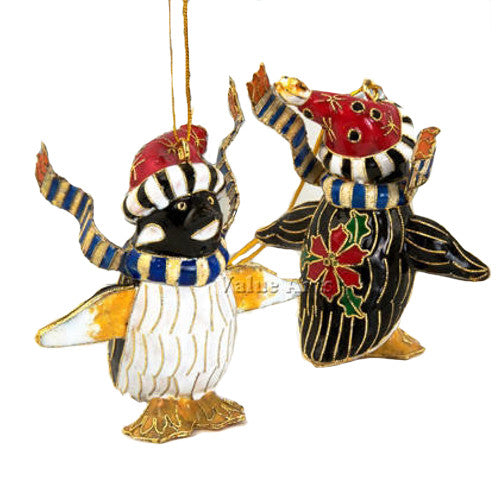 "Cloisonne & Enamel Penguin Christmas Ornament (3.75"" Tall)"
