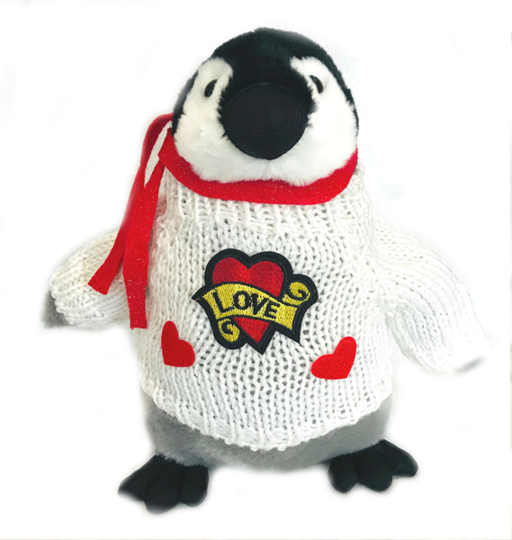"Baby Penguin Love Hearts Romantic Plush (10"" Tall)"