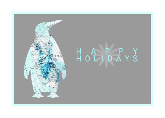 "Penguin Map Holiday Card (5"" x 7"")"