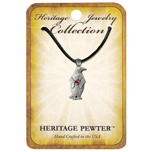 Pewter Penguin Birthstone Pendants (All 12 Months Available)