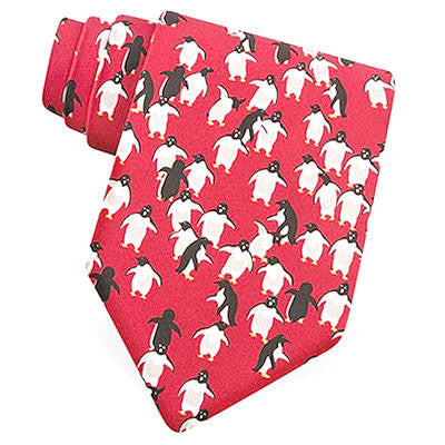 Waddling Red Penguins Silk Tie