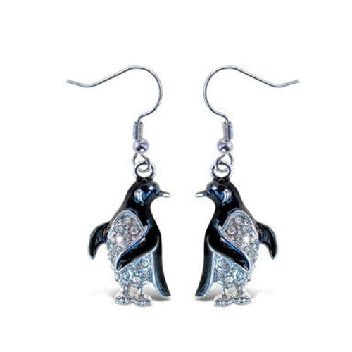 Penguin Rhinestone & Enamel Earrings