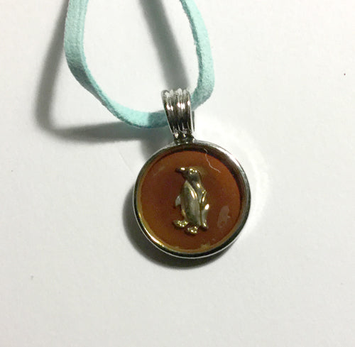 Penguin Mood Pendant with Blue Soft Soap Leather Neaklace