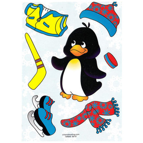 "Penguin Skater Sticker Sheet (5 1/2"" x 4 1/2"")"