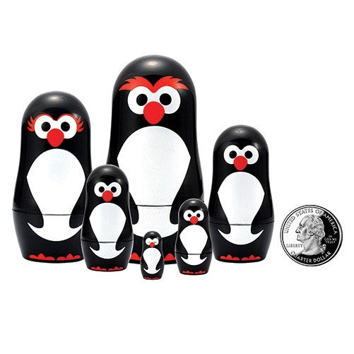 "Penguin Micro Nesting Dolls ( 3"" - 3/4"" Tall)"