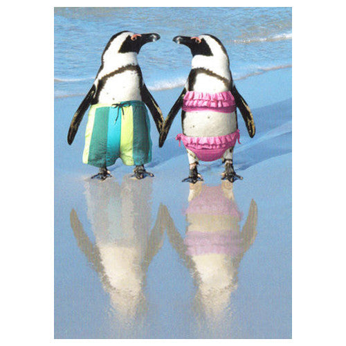Penguins On The Beach - Anniversary Card