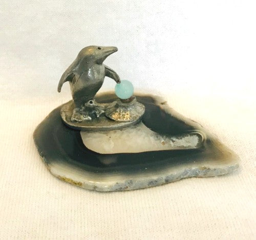 "Mom & Baby Pewter Penguin and Glass Snow Ball On Slate (1"" Tall)"