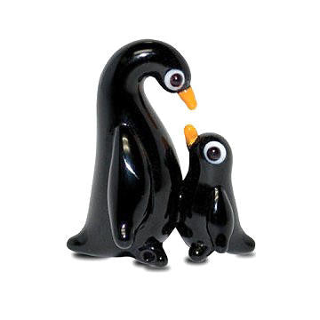 "Mom & Baby Ping Mini Glass Penguin Figurine (2/3"" Tall)"