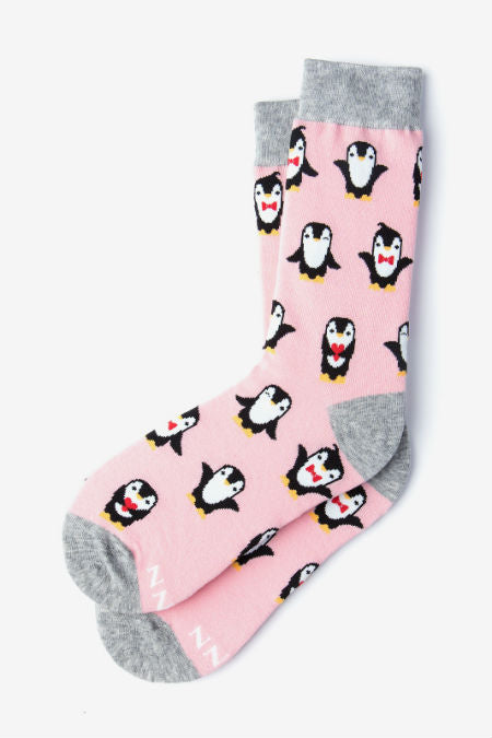 Penguins Are Chill Pink Women's Socks (Size 9-11)