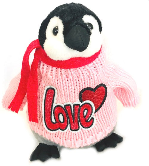 "Penguin Love Romantic Pink Plush (10"" Tall)"