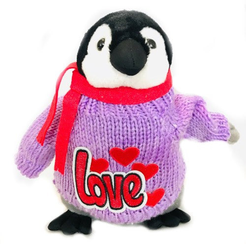 "Penguin Love Romantic Purple Plush (10"" Tall)"