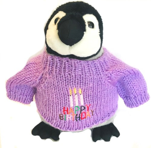 "Birthday Penguin Chick with Purple Sweater (10"" Tall)"