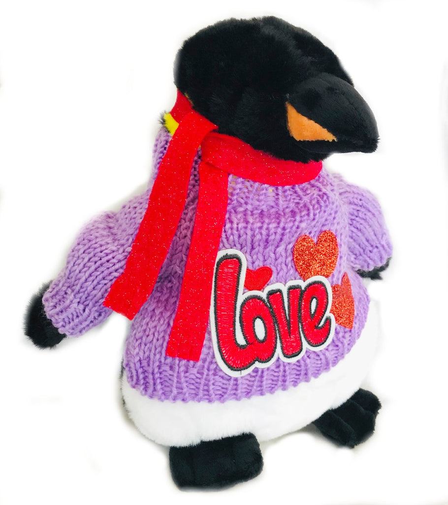 "Emperor Plush Romantic Purple Sweater Penguin (10"" Tall)"