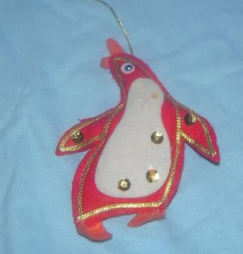 Red Felt Penguin Ornament