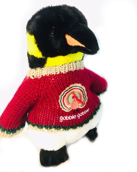 "Gobble Penguin Thanksgiving Holiday Plush (10"" Tall)"