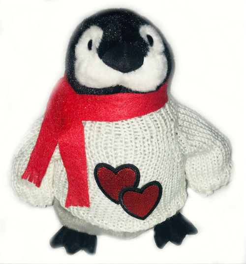 "Romantic Penguin With Hearts and Scarf Plush (10"" Tall)"