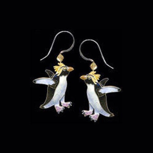 Rockhopper Penguin Cloisonne Wire Earrings