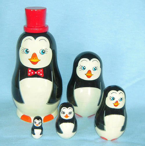 "Russian Nesting Penguin Doll Set ( Red Hat 5"" tall)"