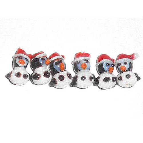 "Santa Penguin Lampwork 1/2"" Beads (6 per set)"