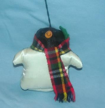 Satin Penguin Ornament with Plaid Scarf