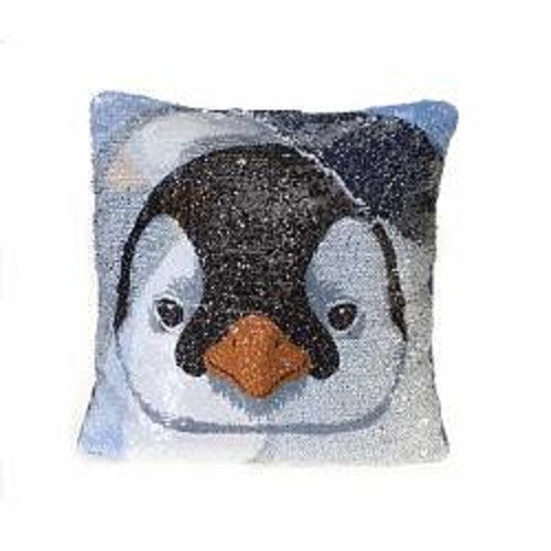 "Decorative Penguin Sequin Pillow (12"" x 12"" x 3"")"