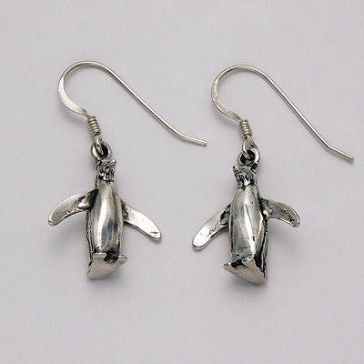 Sterling Silver Wings Out Penguin Earrings Jewelry