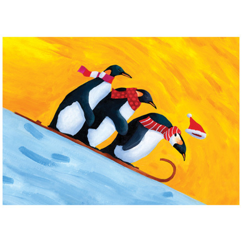 Sledding Penguins Christmas Card Holidays