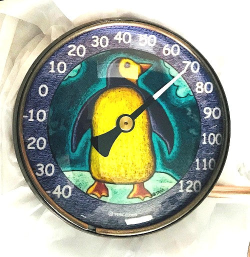 "Penguin Indoor / Outdoor Thermometer (4"" diameter)"