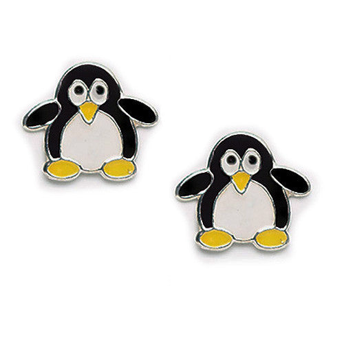 Cutie Penguin Black & White Silver Earrings (posts)
