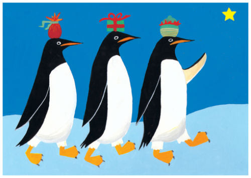 "Three Wise Penguins Christmas Card (5"" x 7"")"