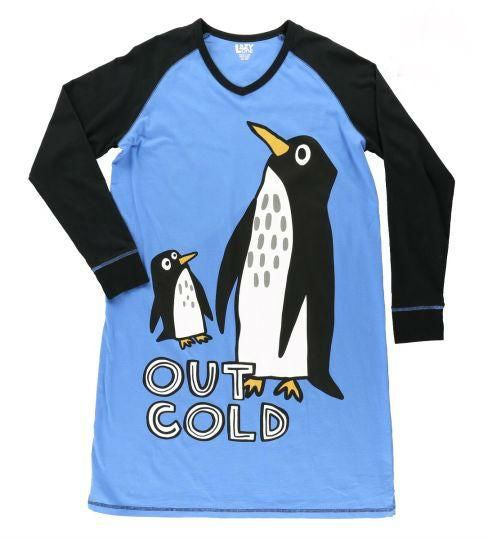 Penguin Night Shirt, Nightshirt, Out Cold, Sleep Shirt