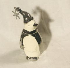 "Ceramic and Silver Penguin Winter Figurine (3"" Tall)"