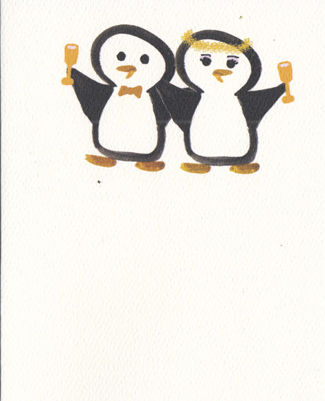 "Wedding Bride & Groom Toasting Card (4"" x 5"")"