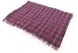 Linen Blue & Red Plaid Scarf
