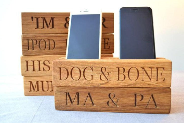 Phone Rack - Double Wooden Phone Holder