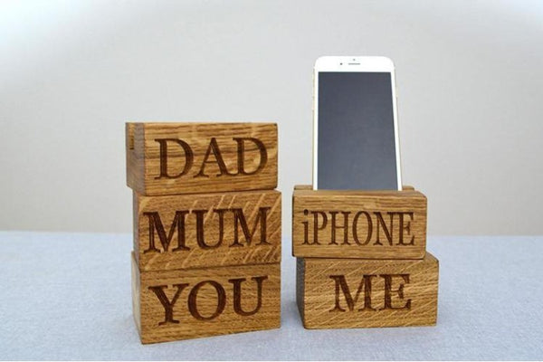 Phone Rack - Single Phone Oak Charging Block