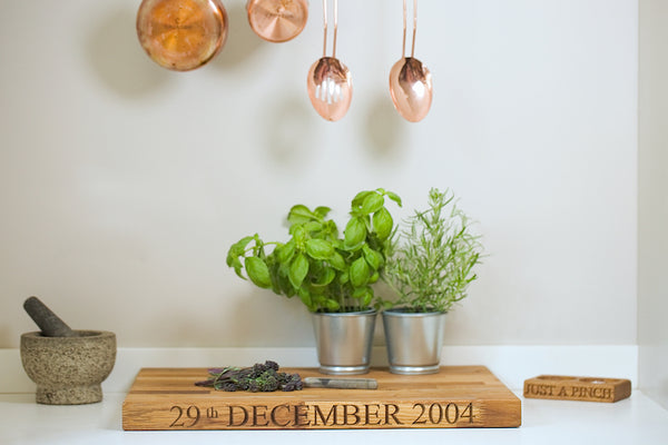 Really Big Oak Chopping Board engraved with a personalised date