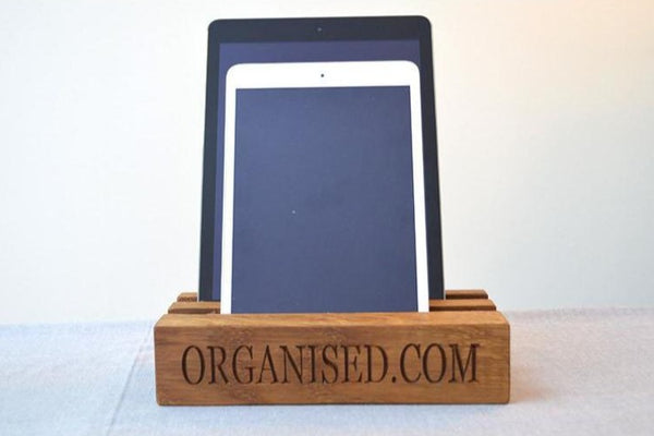 Tablet Rack - Double Tablet Oak Charging Block