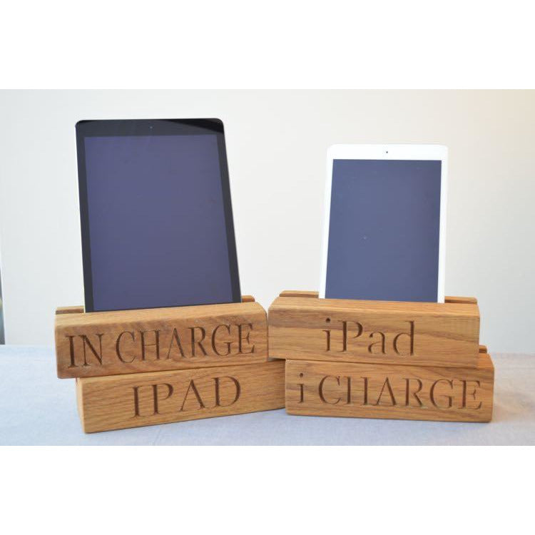 Tablet Rack - Single Tablet Oak Charging Block