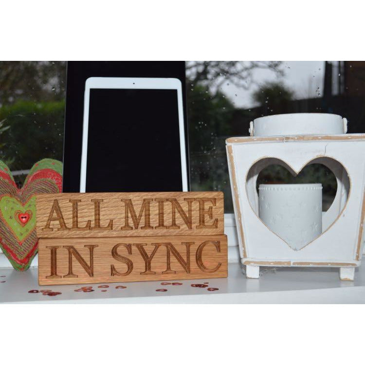Tablet Rack - Valentines Double Tablet Oak Charging Block